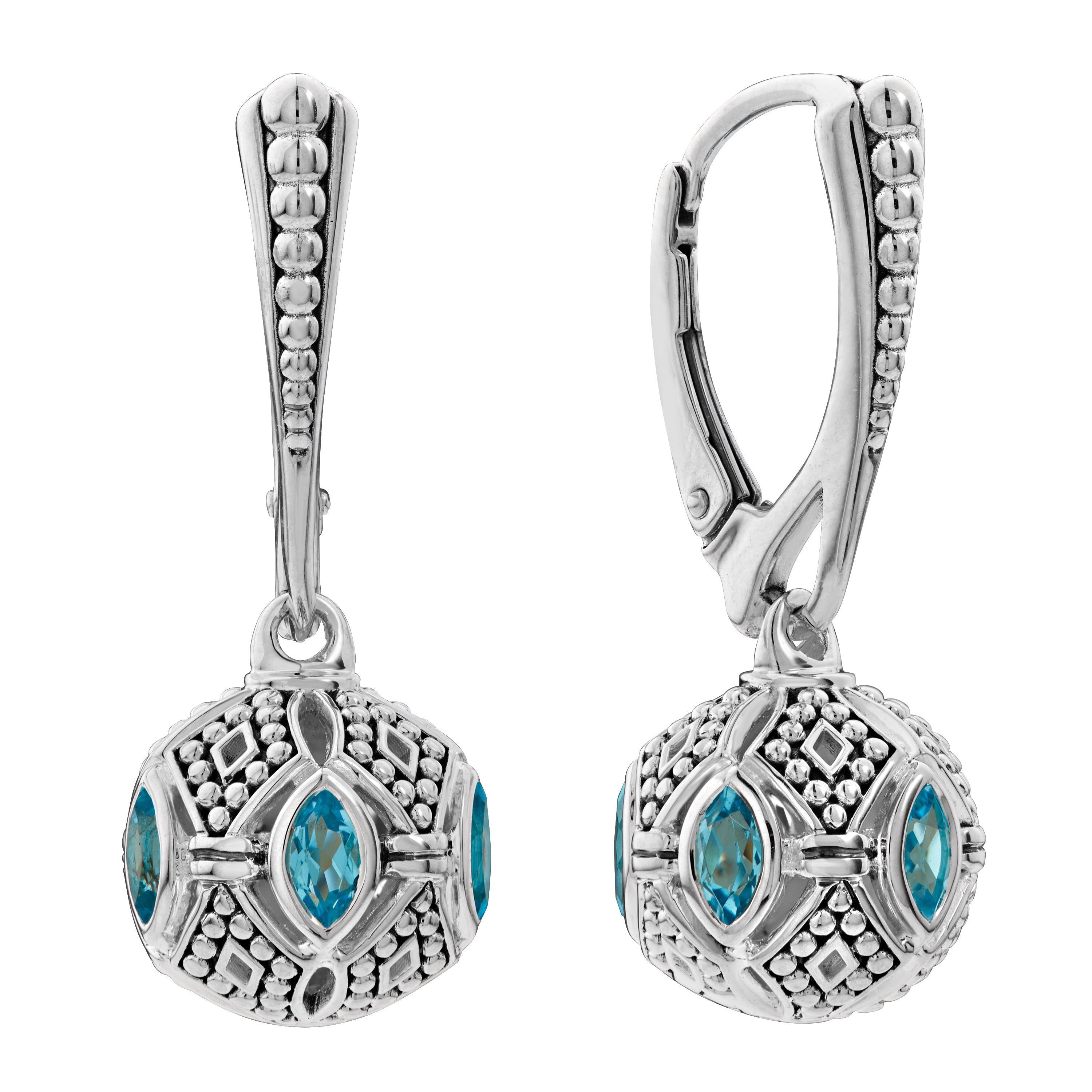 Lagos 'Caviar Talisman' Blue Topaz Drop Earrings