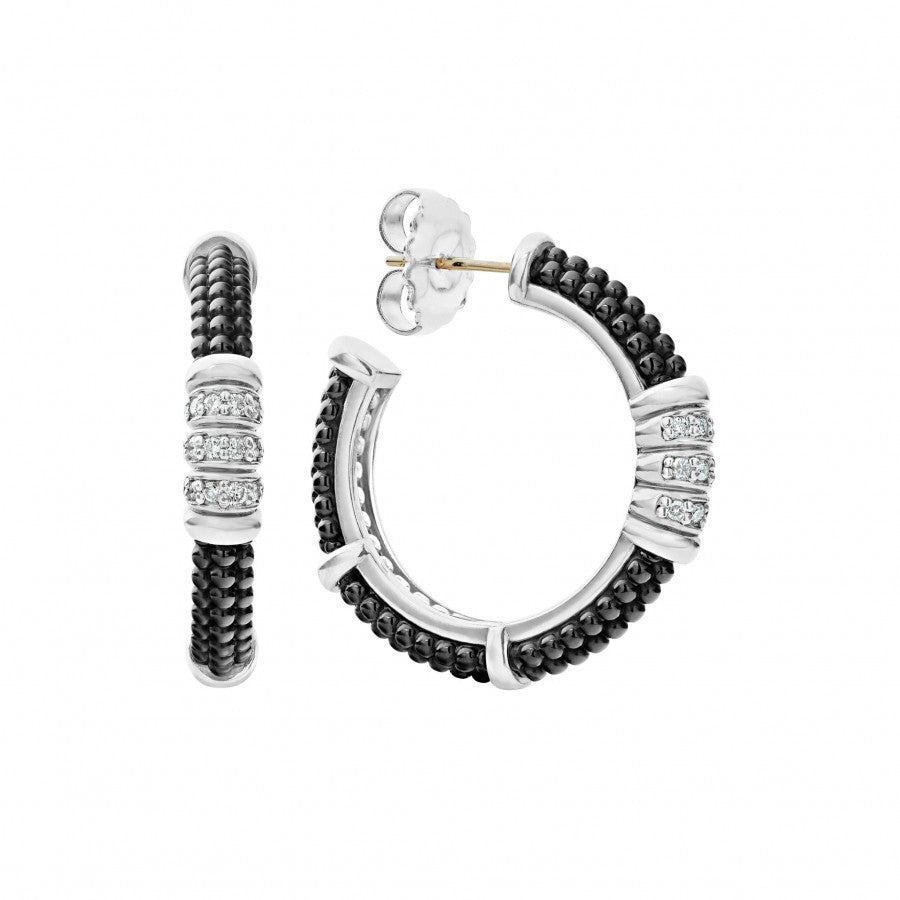 LAGOS Black Caviar Diamond Hoop Earrings