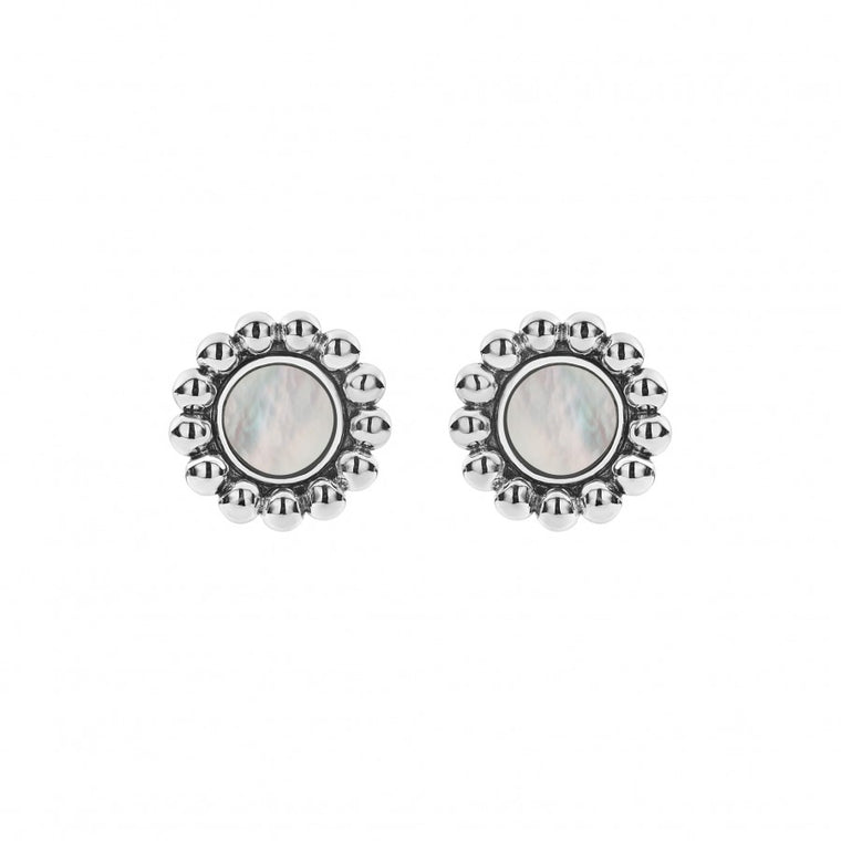 Lagos 'Maya' Circle Stud Earrings with Mother of Pearl