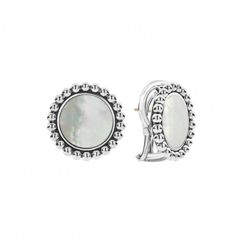 Lagos 'Maya' Gemstone Circle Earrings with 14mm Mother of Pearl