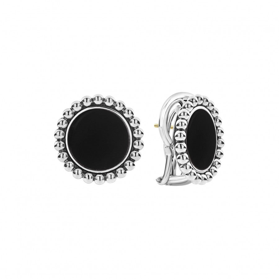 LAGOS Maya Omega Back Earrings with Onyx