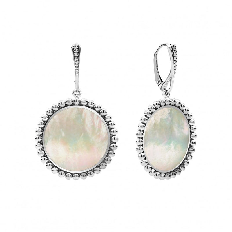 Lagos 'Maya' 24mm Circle Drop Earrings with Mother of Pearl