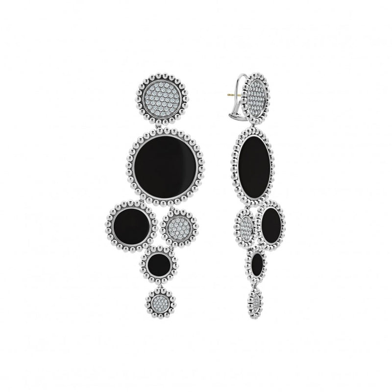 LAGOS Onyx Maya Statement Drop Earrings with Diamonds
