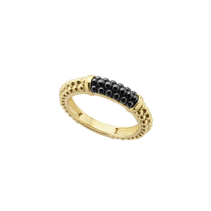 Lagos Gold & Black Caviar Ring
