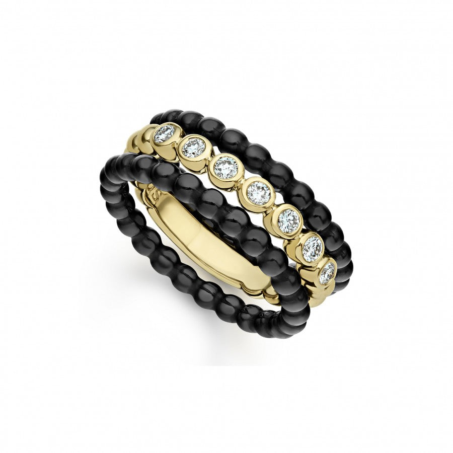 LAGOS Gold and Black Caviar Stacking Rings Set