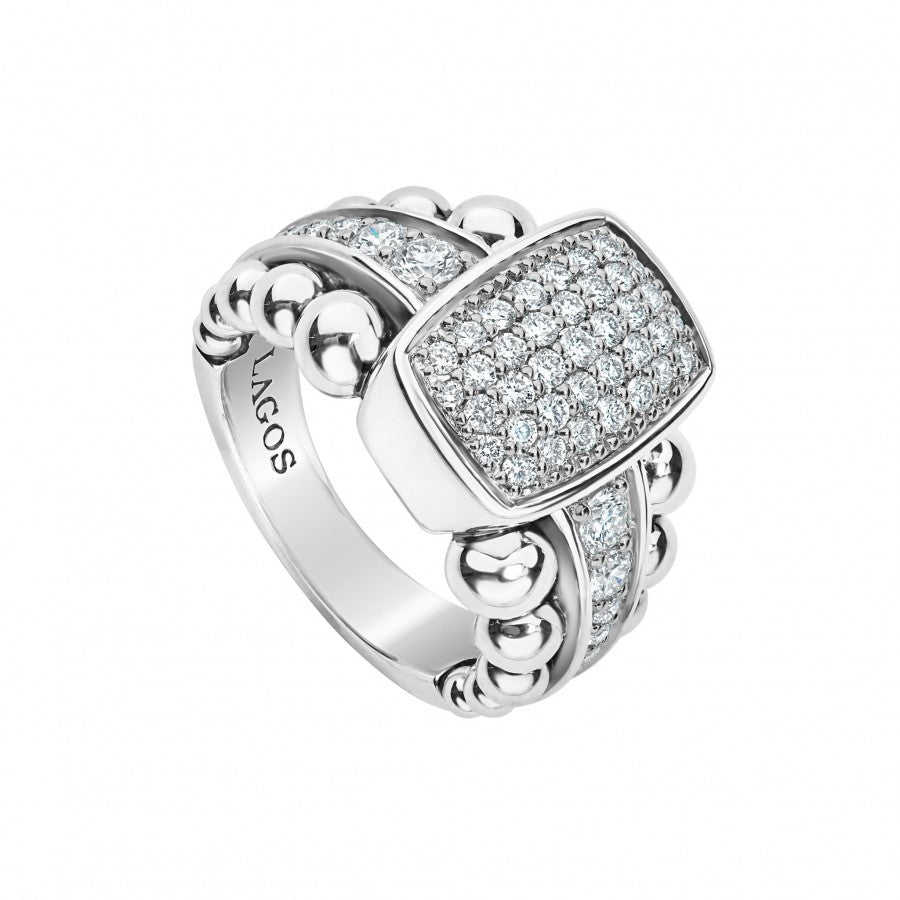 Lagos 'Caviar Spark' Wide Diamond Ring