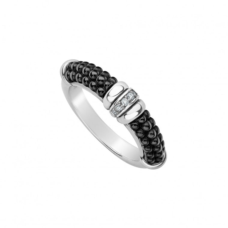 LAGOS Black Caviar Stacking Ring with Diamonds