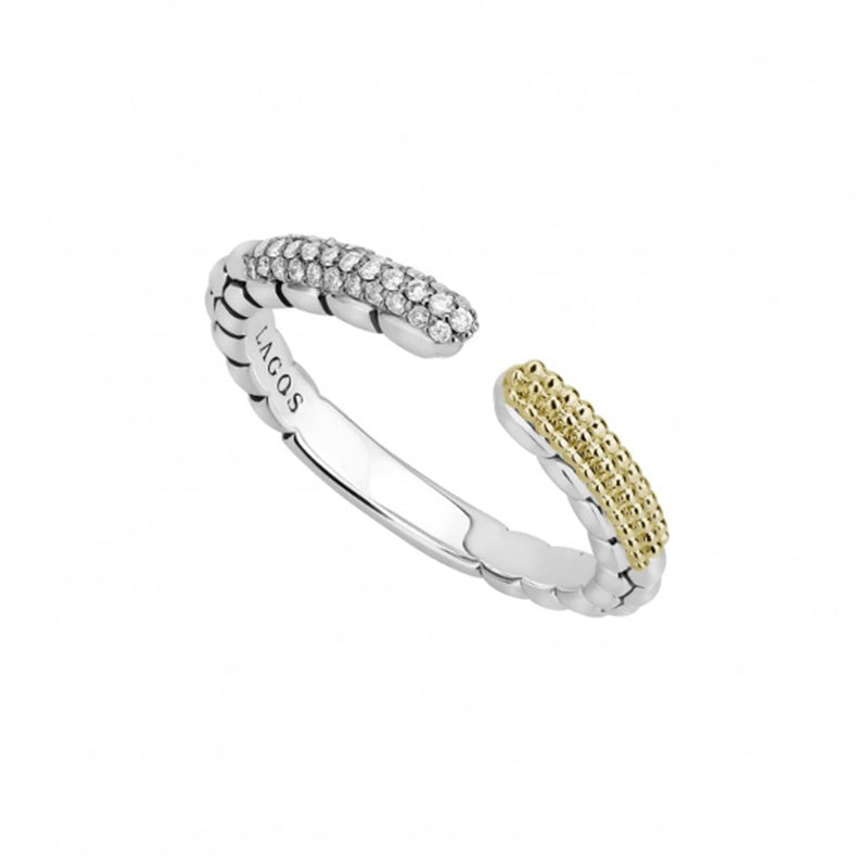 LAGOS 'Caviar Lux' Open Stacking Ring with Diamonds