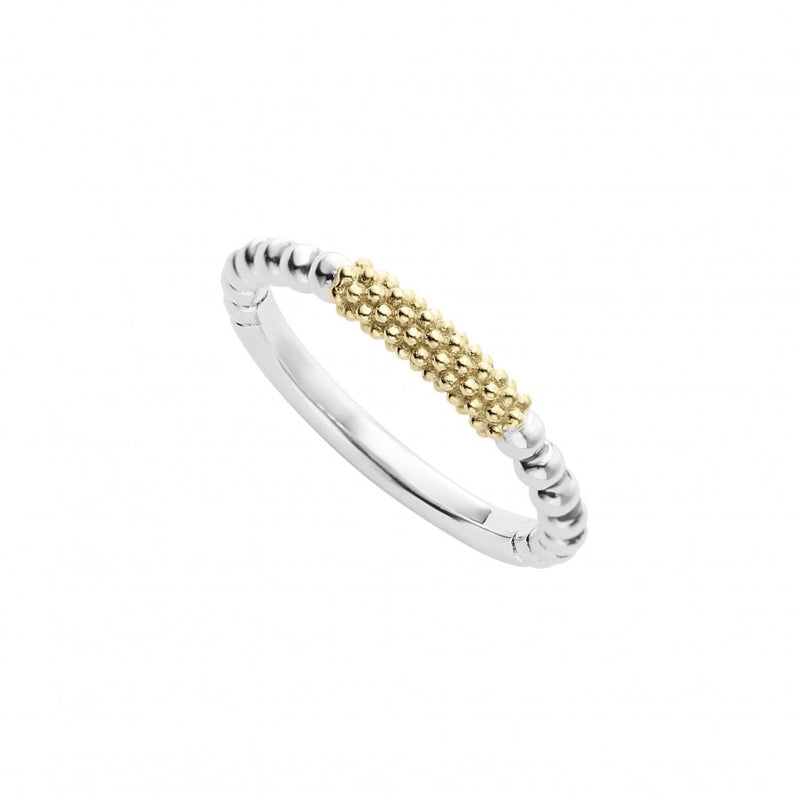 LAGOS Caviar Sterling Silver and Yellow Gold Stacking Ring