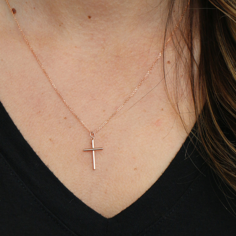 Hand Made Small 14k Rose Gold Cross Pendant