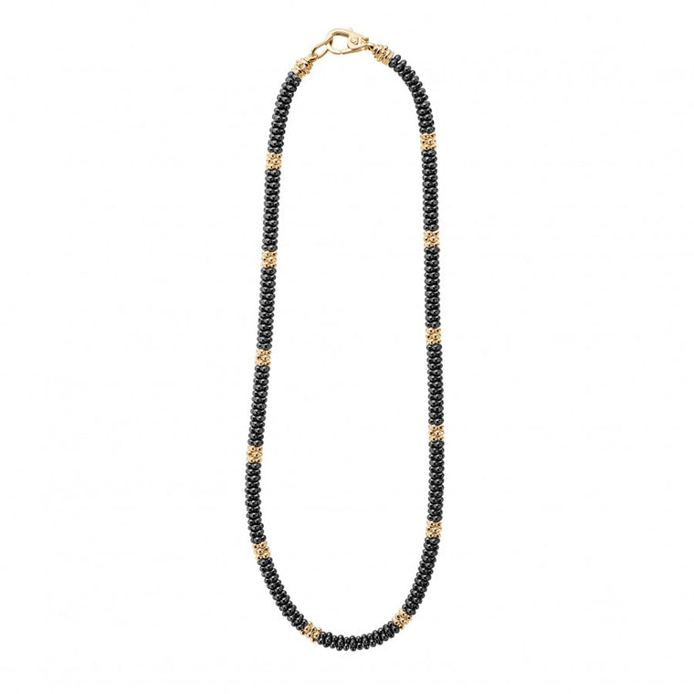 LAGOS Gold and Black Caviar Necklace