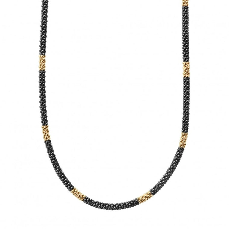 "LAGOS 16"" Gold and Black Beaded Necklace"