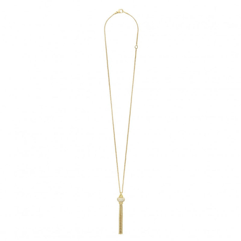 LAGOS Caviar Gold Adjustable Diamond Tassel Necklace