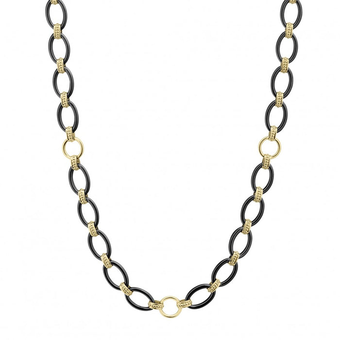 LAGOS Gold and Black Caviar Link Necklace