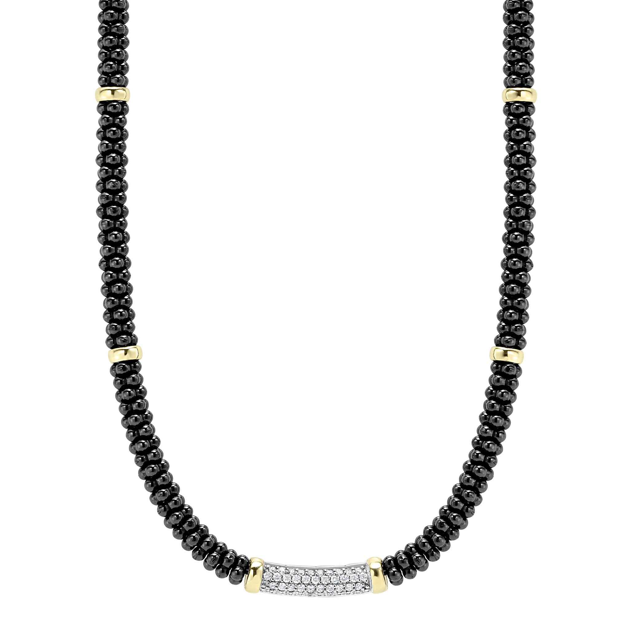Lagos 'Black Caviar' Diamond Beaded Necklace