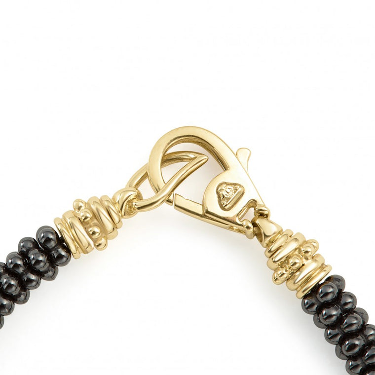 LAGOS Black and Gold Caviar 5mm Beaded Bracelet