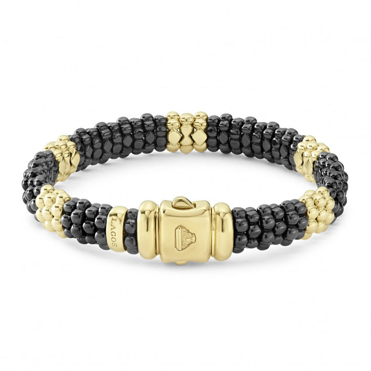 LAGOS Black and Gold Caviar 9mm Beaded Bracelet