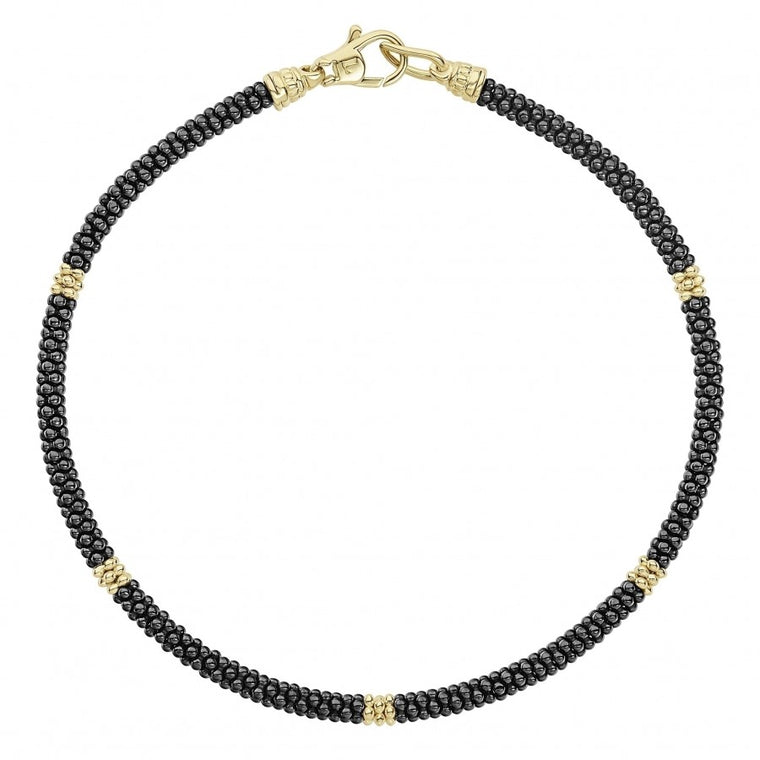 LAGOS Gold and Black Caviar 3mm Bead Bracelet