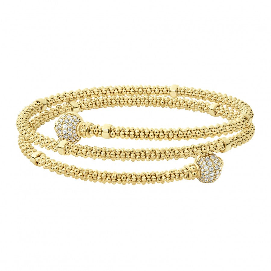 LAGOS Caviar Gold Wrap Bracelet with Diamonds