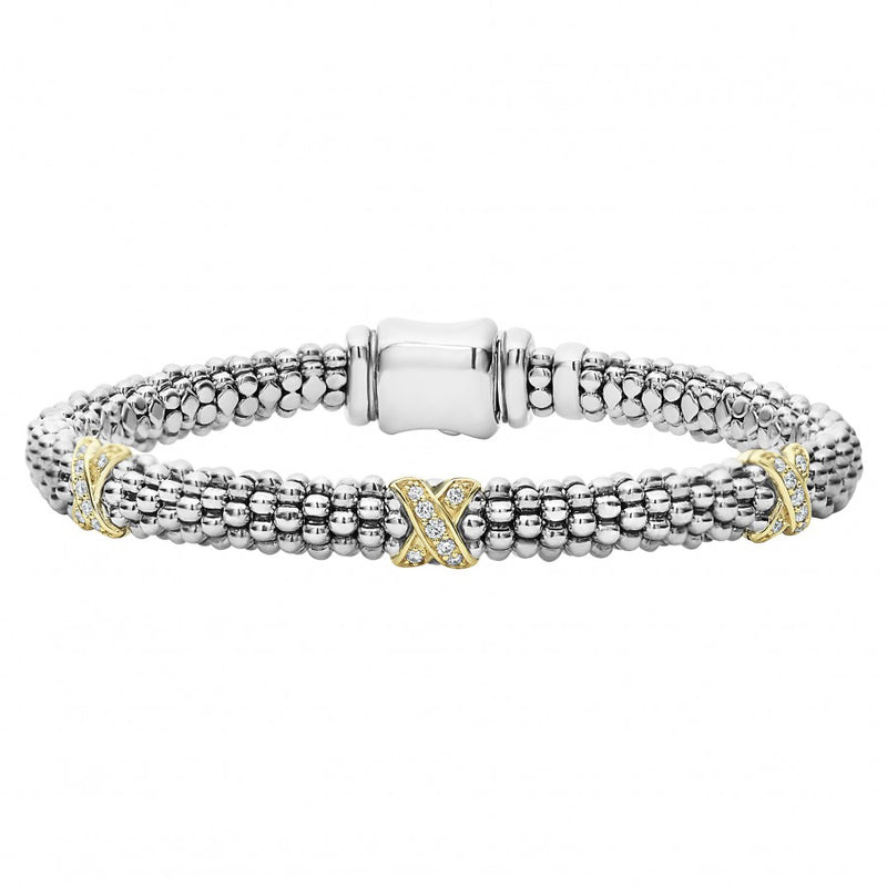 LAGOS 'Diamond Lux' Three Station X Bracelet with Gold