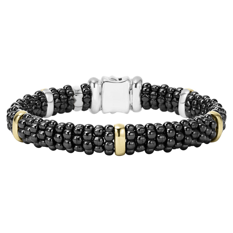 Lagos 'Black Caviar' Beaded Bracelet with Gold