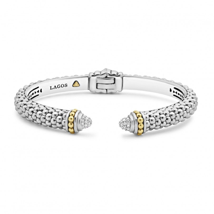LAGOS Diamonds and Caviar Cuff Bracelet
