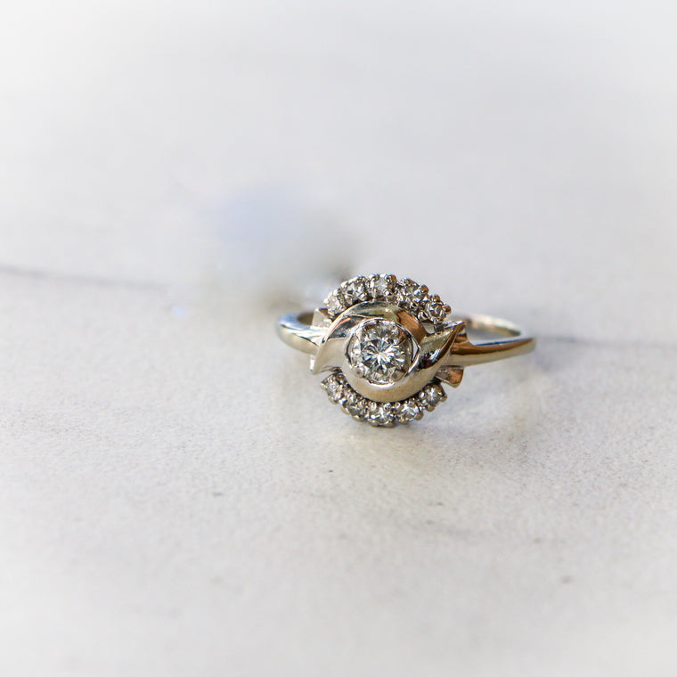 Antique 14k White Gold Ring