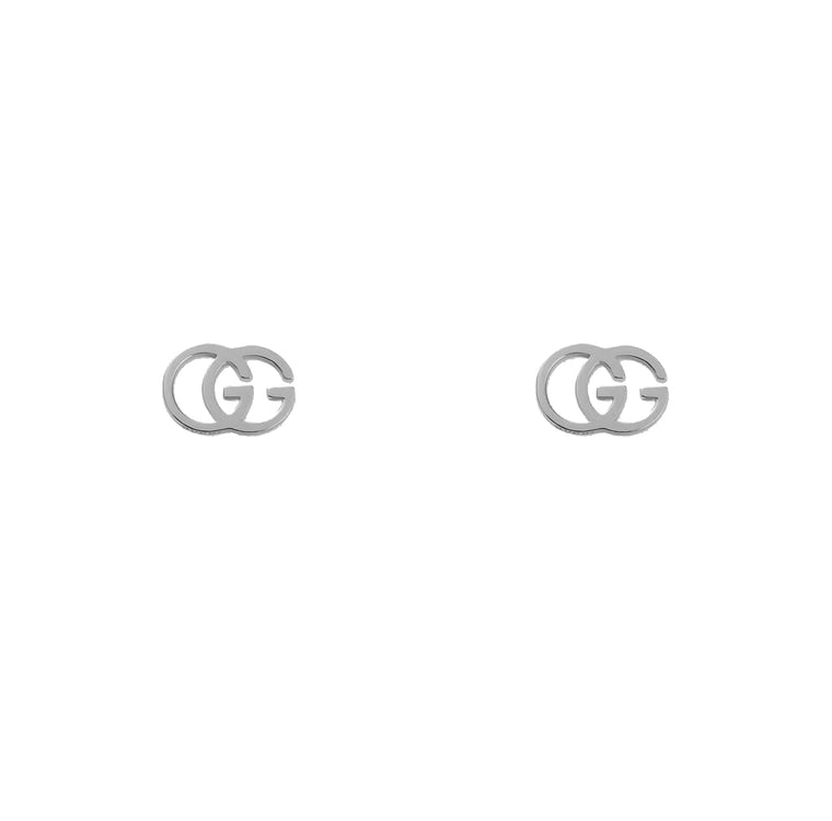 Gucci GG Tissue 18k White Gold Stud Earrings