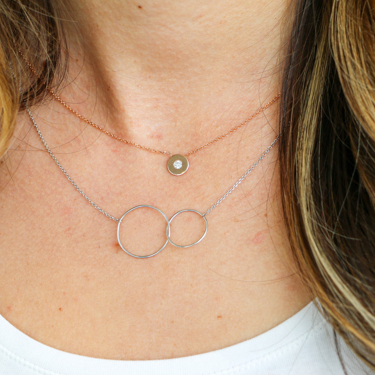 Hand Made 14k White Gold Interlocking Circle Necklace