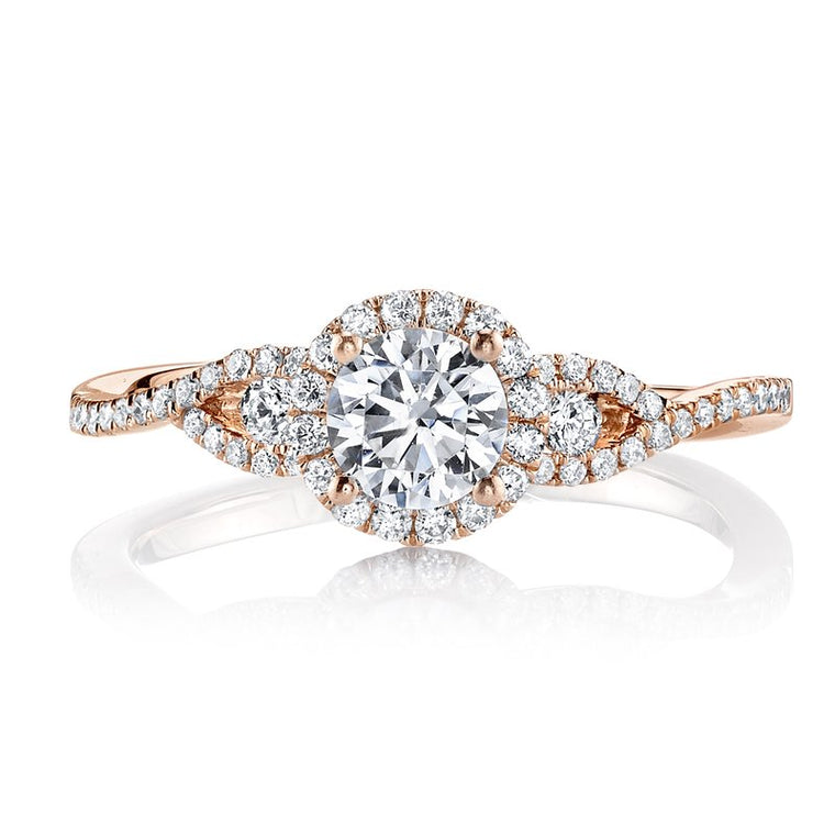 MARS 14k Rose Gold Split Shank Halo Engagement Ring