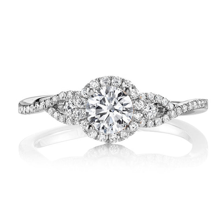 MARS 14k White Gold Split Shank Halo Engagement Ring