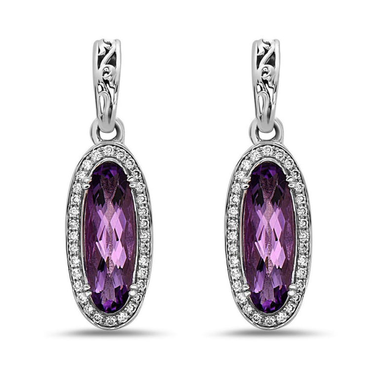 Charles Krypell Oval Amethyst and Diamond Drop Earrings