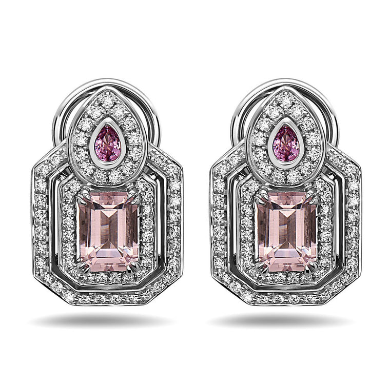 Charles Krypell Morganite, Pink Sapphire, and Diamond Omega Back Earrings