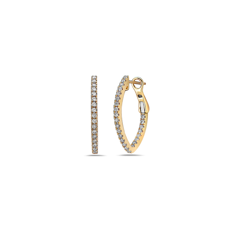 Charles Krypell 18k Yellow Gold V Hoop Earrings with Diamonds