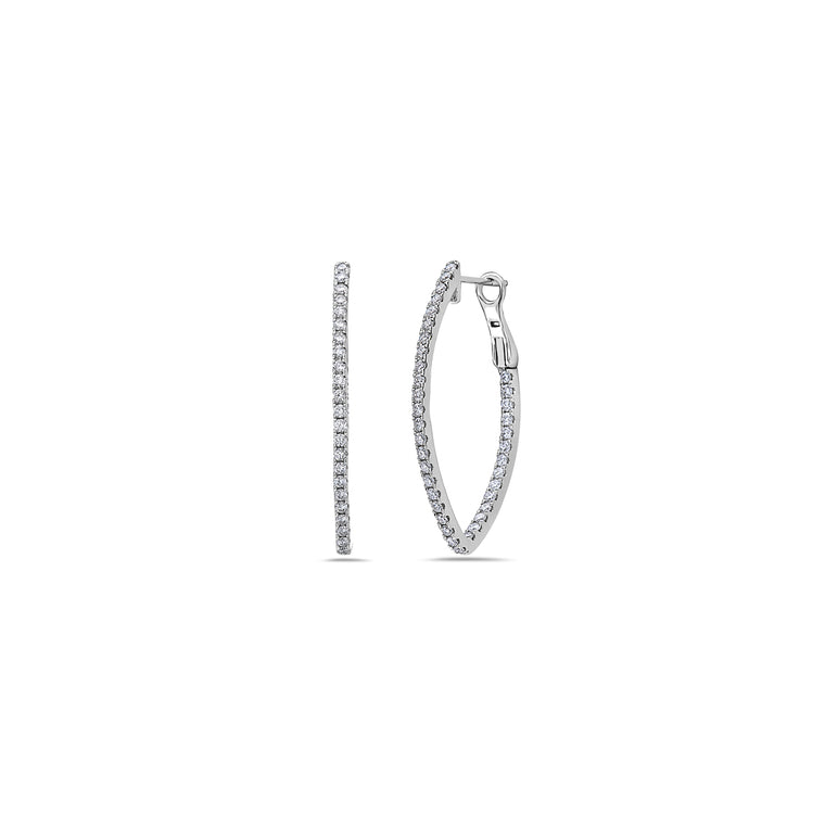 Charles Krypell 18k White Gold V Hoop Earrings with Diamonds