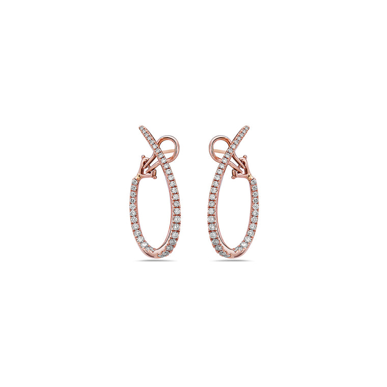 Charles Krypell 18k Rose Gold Oval Hoop Earrings with Diamonds