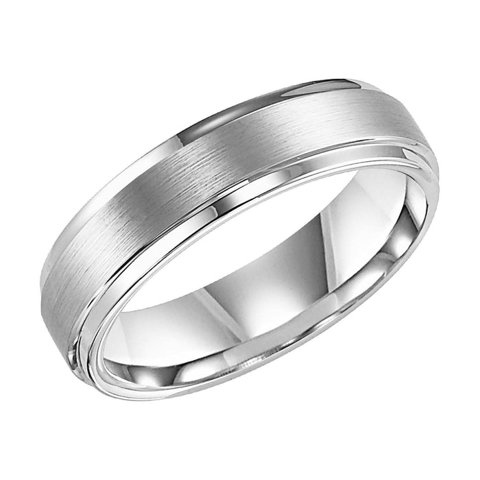 White Tungsten Satin Finish 6mm Comfort Fit Wedding Band
