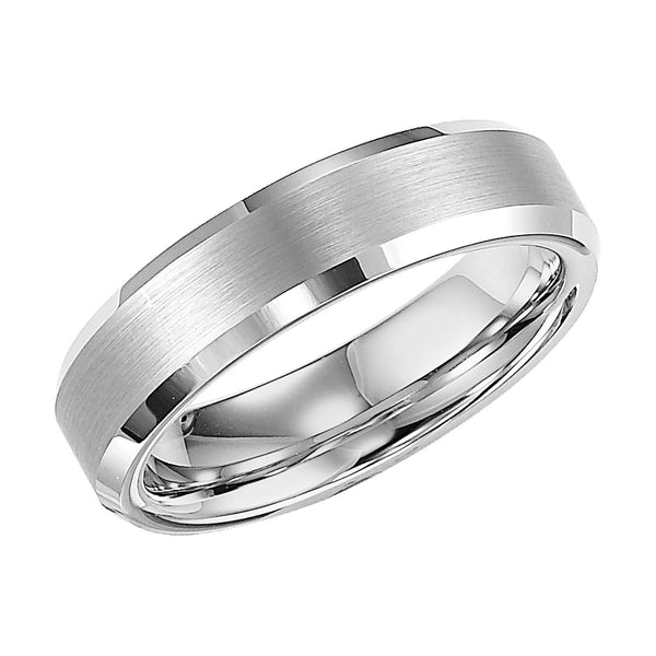 White Tungsten Satin Finish Beveled Lip 6mm Comfort Fit Wedding Band