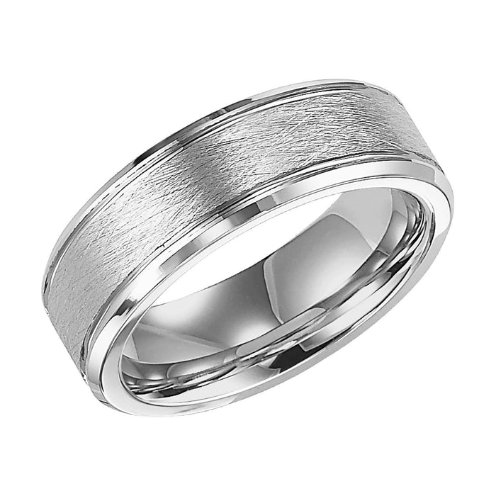 White Tungsten Satin Finish Center 7.5mm Comfort Fit Wedding Band