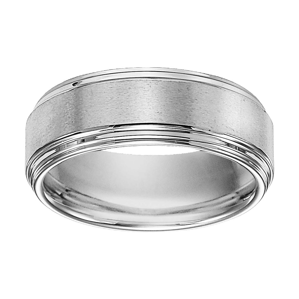 White Tungsten Satin Finish Center 8mm Comfort Fit Wedding Band