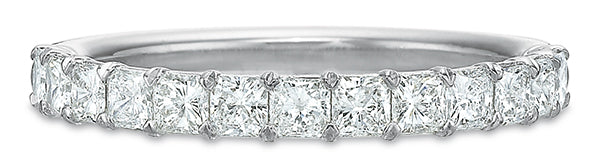 Precision Set Airline 14k White Gold Wedding Band with Diamonds
