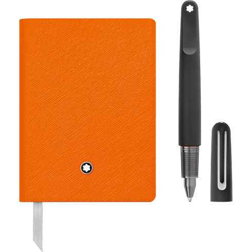 MontBlanc M Ultra Black Ballpoint Pen and Notebook inLucky Orange