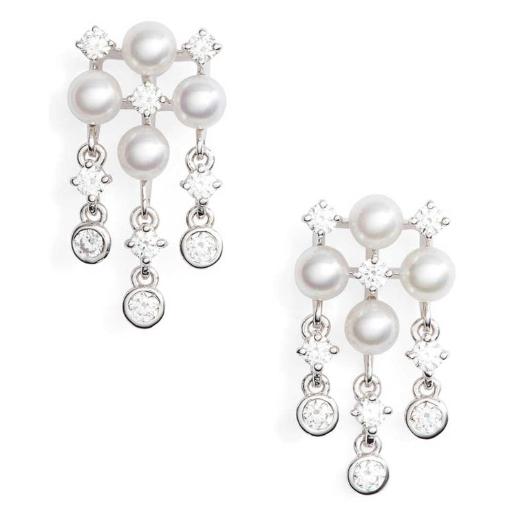 Mikimoto 18k White Gold Akoya Pearl Chandelier Earrings