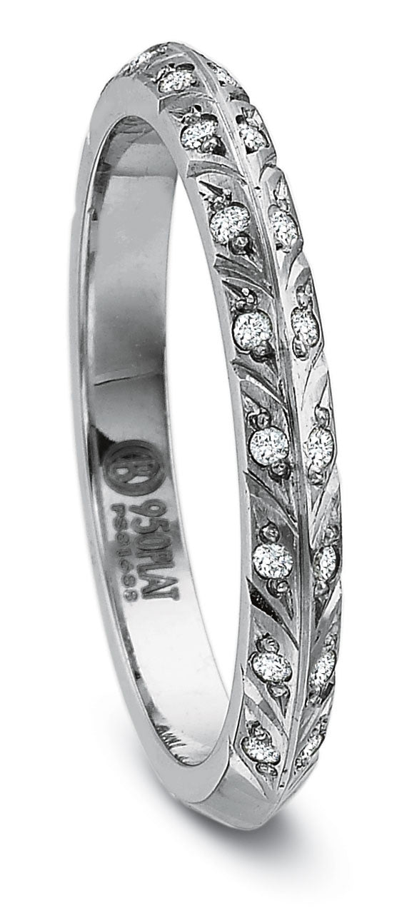 Precision Set leaf 2.5mm wedding band 0.10tw