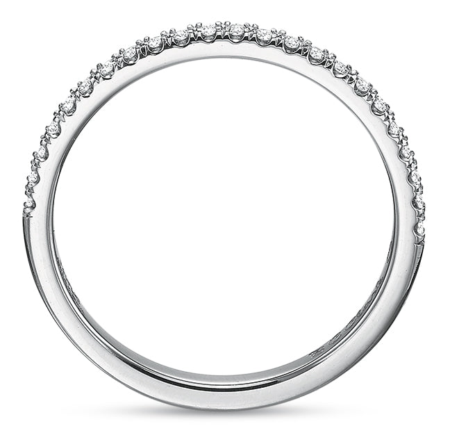 Precision Set 18k White Gold Wedding Band with Diamonds