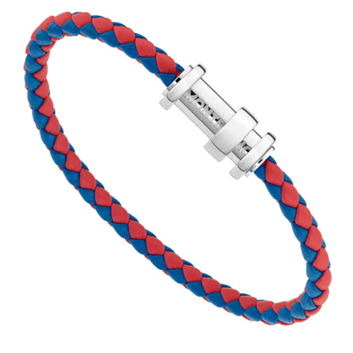 Montblanc Woven Red and Blue Leather Bracelet
