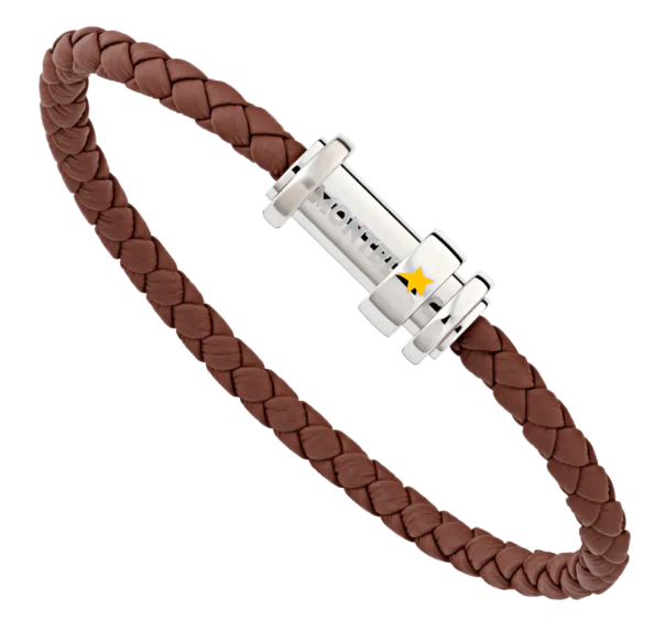Montblanc Le Petit Prince Brown Leather and Stainless Steel Bracelet