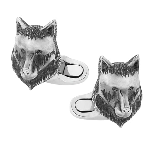 Montblanc Sterling Silver Wolf Head Cufflinks