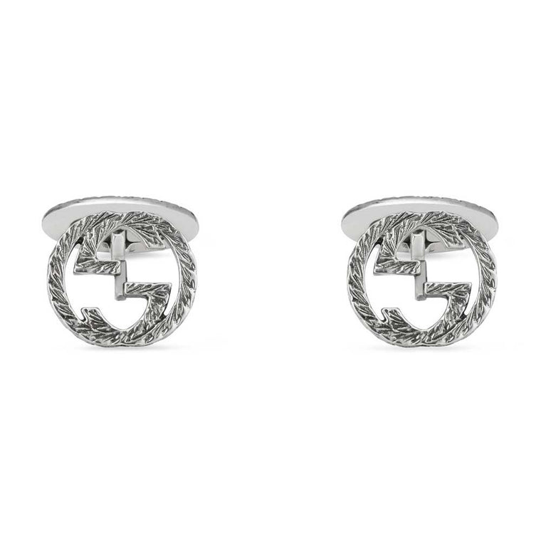 Gucci Sterling Silver Textured Interlocking G Cufflinks