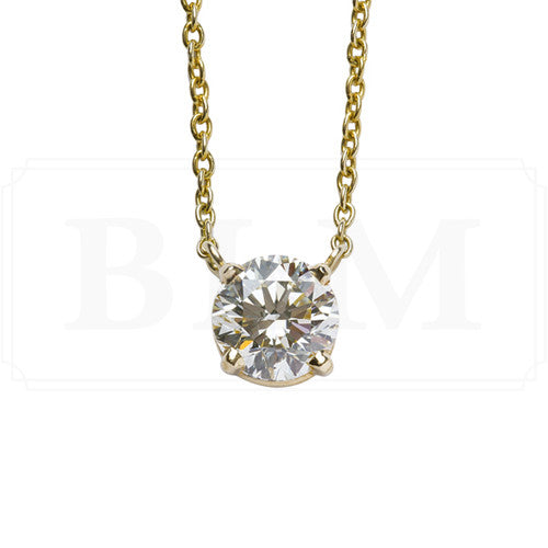 1.50 Carat Classic Round Diamond Pendant in Yellow Gold